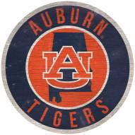 """Auburn Tigers 12"""" Circle with State Sign"""