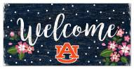 """Auburn Tigers 6"""" x 12"""" Floral Welcome Sign"""