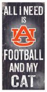 """Auburn Tigers 6"""" x 12"""" Football & My Cat Sign"""