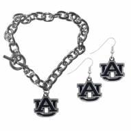 Auburn Tigers Chain Bracelet & Dangle Earring Set