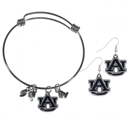Auburn Tigers Dangle Earrings & Charm Bangle Bracelet Set