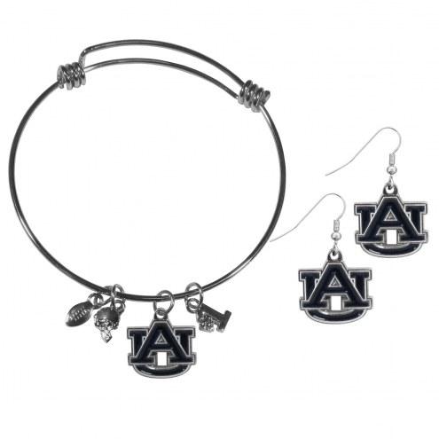 Auburn Tigers Dangle Earrings & Charm Bangle Bracelet Set