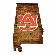 Auburn Tigers Distressed State with Logo Sign