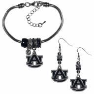 Auburn Tigers Euro Bead Earrings & Bracelet Set