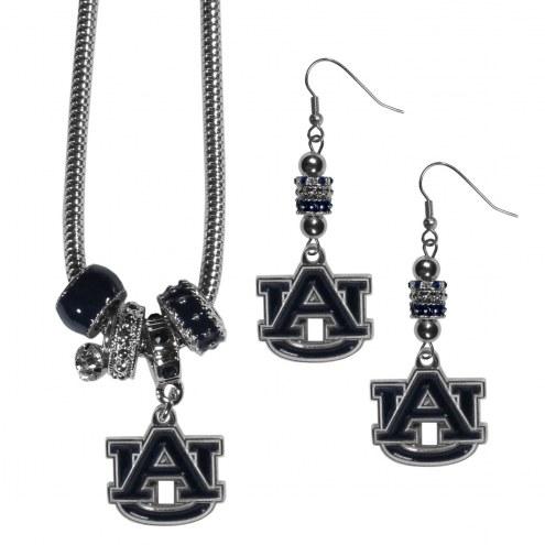 Auburn Tigers Euro Bead Earrings & Necklace Set
