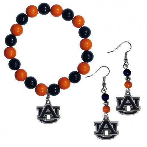 Auburn Tigers Fan Bead Earrings & Bracelet Set