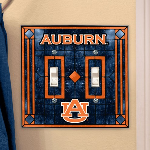 Auburn Tigers Glass Double Switch Plate Cover
