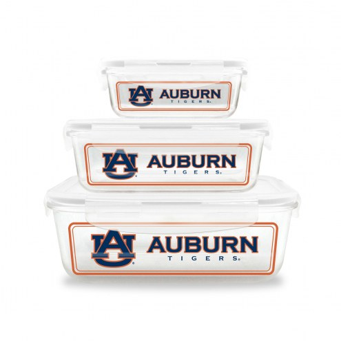 Auburn Tigers Glass Food Container Set