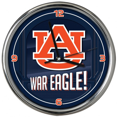 Auburn Tigers Go Team Chrome Clock