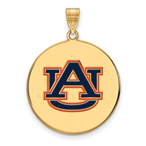 Auburn Tigers Sterling Silver Gold Plated Extra Large Enameled Disc Pendant