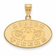 Auburn Tigers NCAA Sterling Silver Gold Plated Medium Pendant