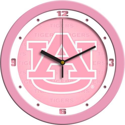 Auburn Tigers Pink Wall Clock