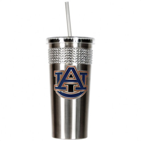 Auburn Tigers Stainless Steel Bling Tumbler with Straw