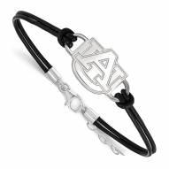 Auburn Tigers Sterling Silver Black Leather Bracelet