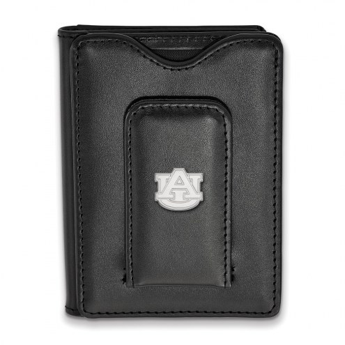 Auburn Tigers Sterling Silver Black Leather Wallet