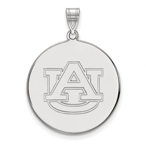 Auburn Tigers Sterling Silver Extra Large Disc Pendant