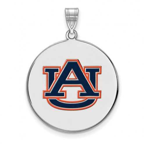 Auburn Tigers Sterling Silver Extra Large Enameled Disc Pendant