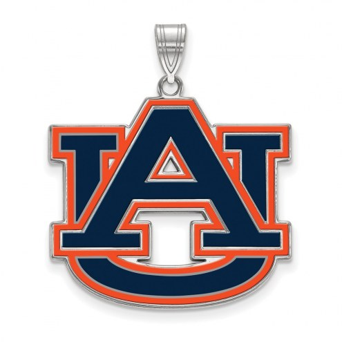Auburn Tigers Sterling Silver Extra Large Enameled Pendant