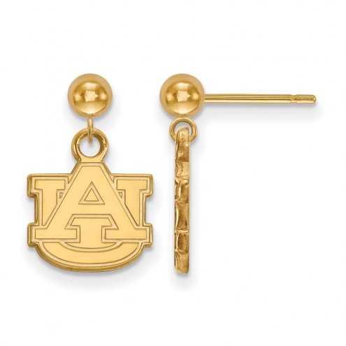 Auburn Tigers Sterling Silver Gold Plated Dangle Ball Earrings