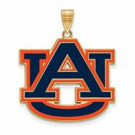 Auburn Tigers Sterling Silver Gold Plated Extra Large Enameled Pendant