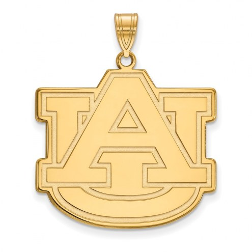 Auburn Tigers Sterling Silver Gold Plated Extra Large Pendant