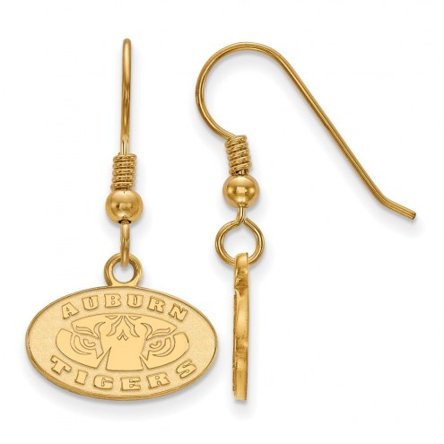 Auburn Tigers Sterling Silver Gold Plated Extra Small Dangle Earrings