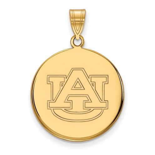 Auburn Tigers Sterling Silver Gold Plated Large Disc Pendant