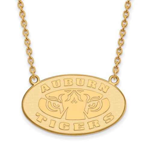 Auburn Tigers Sterling Silver Gold Plated Large Pendant Necklace