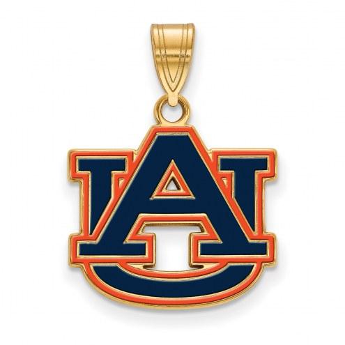 Auburn Tigers Sterling Silver Gold Plated Medium Enameled Pendant