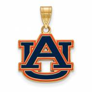 Auburn Tigers Sterling Silver Gold Plated Medium Enameled Pendant