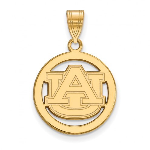 Auburn Tigers Sterling Silver Gold Plated Medium Pendant