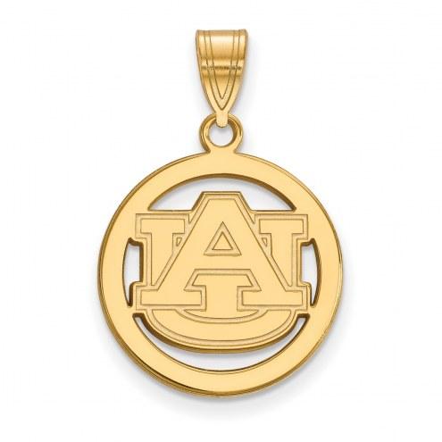 Auburn Tigers Sterling Silver Gold Plated Medium Pendant