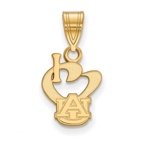 Auburn Tigers Sterling Silver Gold Plated Small I Love Logo Pendant