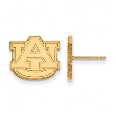 Auburn Tigers Sterling Silver Gold Plated Small Post Earrings