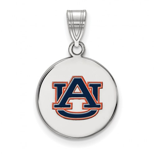 Auburn Tigers Sterling Silver Medium Enameled Disc Pendant