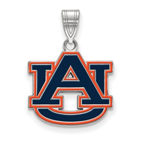 Auburn Tigers Sterling Silver Medium Enameled Pendant