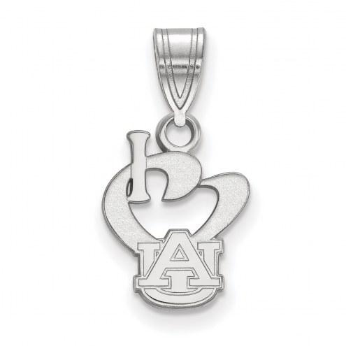 Auburn Tigers Sterling Silver Small I Love Logo Pendant