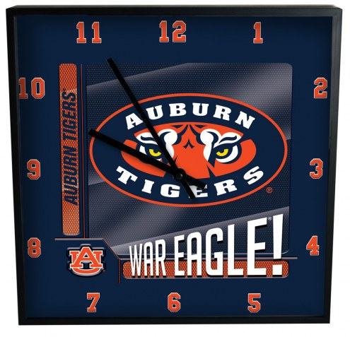 Auburn Tigers Team Black Square Clock