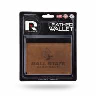 Ball State Cardinals Brown Leather Trifold Wallet