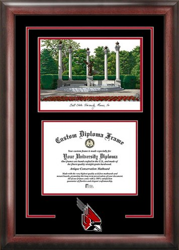 Ball State Cardinals Spirit Diploma Frame with Campus Image