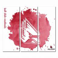 Ball State Cardinals Triptych Watercolor Canvas Wall Art