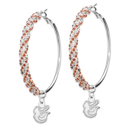 Baltimore Orioles Amped Logo Crystal Earrings
