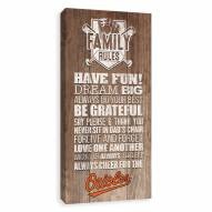 Baltimore Orioles Family Rules Icon Wood Printed Canvas