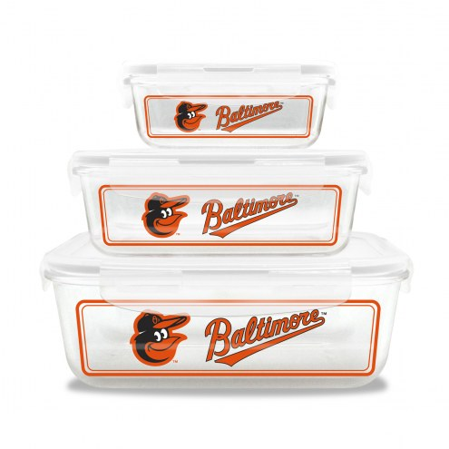 Baltimore Orioles Glass Food Container Set