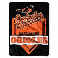 Baltimore Orioles Home Plate Plush Raschel Blanket