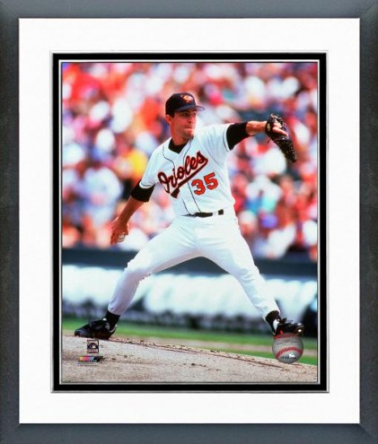 Baltimore Orioles Mike Mussina 1991 Action Framed Photo