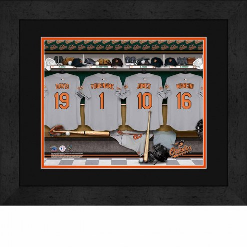 Baltimore Orioles Personalized Locker Room 13 x 16 Framed Photograph