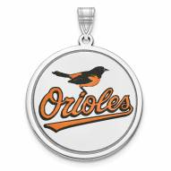 Baltimore Orioles Sterling Silver Disc Pendant