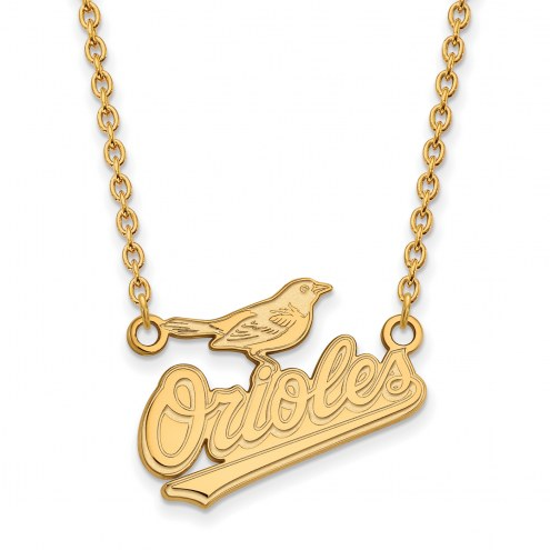 Baltimore Orioles Sterling Silver Gold Plated Large Pendant Necklace