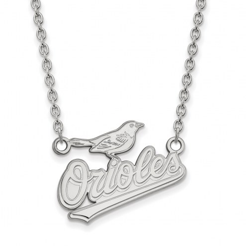 Baltimore Orioles Sterling Silver Large Pendant Necklace